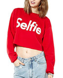 Letters Print Red Cotton Cropped Sweatshirt SS0130001