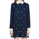 Navy Casual Cartoon Print Polo Neck Polyester Chiffon Blouse-BL0310006