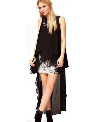 Black Layered Chiffon High-Low Dress DR0130038