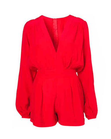 Red Chiffon V Neck Playsuit DR0130009