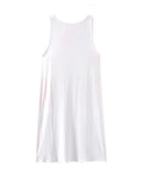 Pearl Feathers Print White Vest Dress DR0230009-16