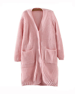 Pink Cable Knitted Longline Cardigan With Big Pockets JA0230033-1
