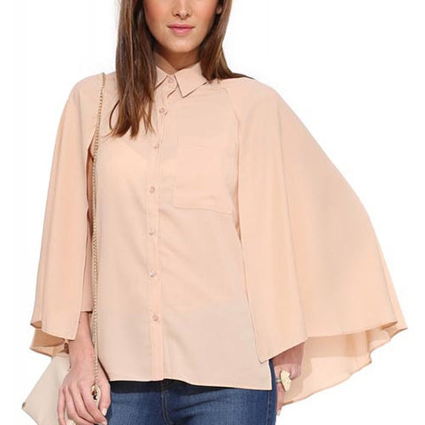 Pink Casual Floral Print Polo Neck Button Front Cape Chiffon Blouse-BL0310007