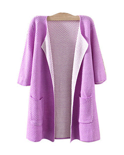 Purple Three Quarter Sleeve Longerline Cardigan With Pockets JA0230003-5