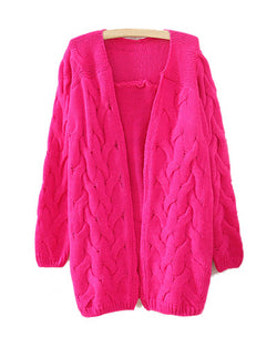 Rosy Retro Crochet Cable Knit Loose Longerline Cardigan ST0230081-2