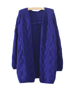 Royal Blue Retro Crochet Cable Knit Loose Longerline Cardigan ST0230081-3