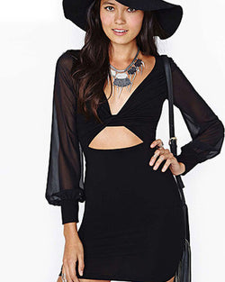 Black Bodycon Deep V Neck Long Sleeve Mini Dress DR0130092