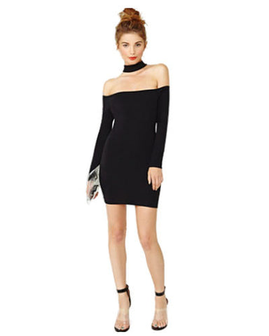 Bodycon Black Knit Long Sleeve Cold Shoulder Halter Dress DR0130040
