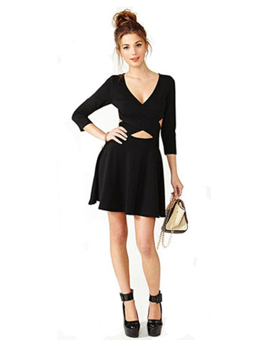 Black Knit Cross Front Mini Dress DR0130054