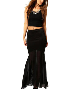 Black Lycra Mermaid Maxi Skirt DR0130099