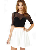 Black Half Sleeve T Shirt With Organza Insert DR0130029