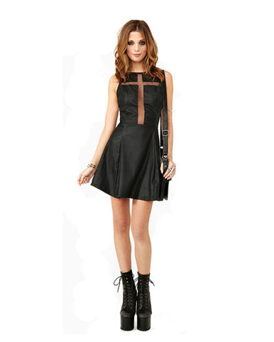 Black PU Cross Mesh Insert Skater Dress DR0130013
