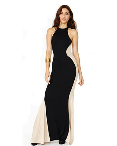 Lycra Contrast Back Maxi Dress DR0130014
