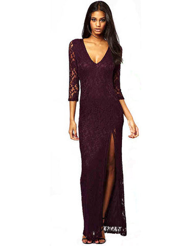 Purple Deep V Neck Lace Maxi Dress With High Thigh Split DR0130001-1