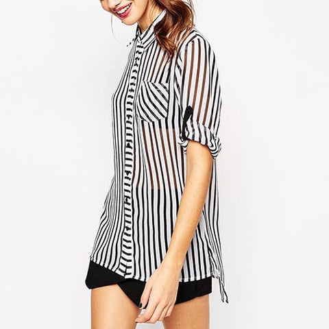 Striped Casual Polyester Transparent Button Front Short Sleeve T-Shirt-BL0310008
