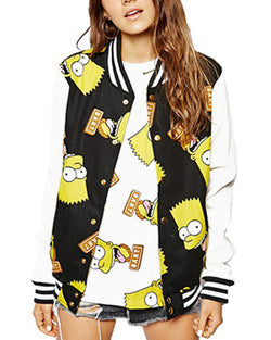 The Simpsons Print Black Baseball Jacket SS0310022