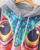Watercolor Owl Print Grey Hoodie With Pockets SS0230023