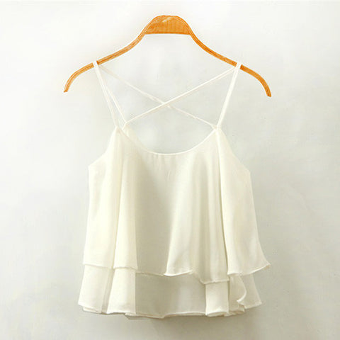White Casual Backless Cross Straps Layered Chiffon Tank Top-BL0230022-2