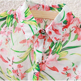White Casual Floral Print Lapel Sleeveless Asymmetrical Hem Polyester Blouse-BL0230021-2