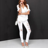 White Casual V-Neck Short Sleeve Chiffon Blouse-BL0310003