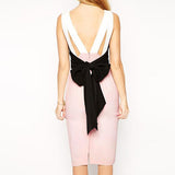 White Cute Color Block Polyester Going Out & Party Dress With Bowknot Back-DR0310003