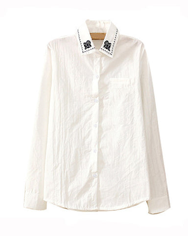 White Long Sleeve Shirt With Embroidery Collar BL0230019
