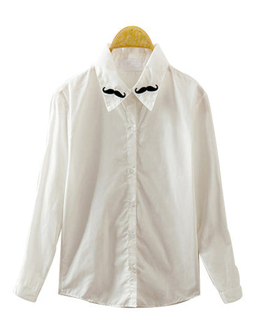 White Long Sleeve Shirt With Moustache Embroidery Collar BL0230008