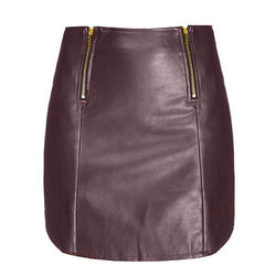 Wine Red Vintage Skinny PU Skirt-SK0310005
