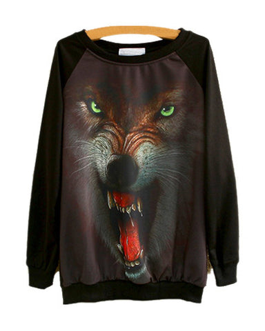 Wolf With Green Eyes Print Black Loose Sweatshirt SS0230088-8
