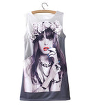 Wreath Girl Print Short Vest Dress DR0230008-7
