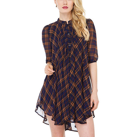 Yellow And Blue Plaid British Style Loose Falbala Casual A-line Chiffon Dress DR0130267