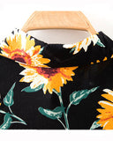 Yellow Daisy Print Long Sleeve Shirt In Black BL0230016-1