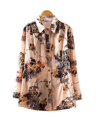 Yellow Ink Flowers Print Long Sleeve Loose Cotton Shirt BL0230007-1