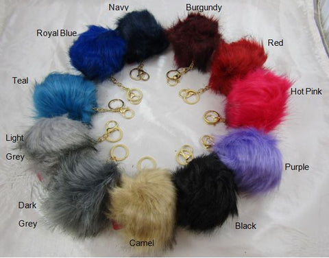 Faux fur fluffy pom pom key chain