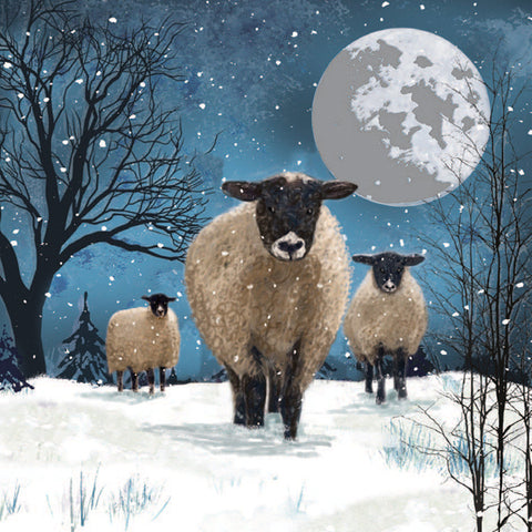 """Christmas Hare/Sheep on a Hill"" Christmas Cards - Pack of 10"