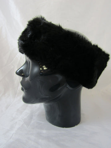 Fluffy faux fur headband - black
