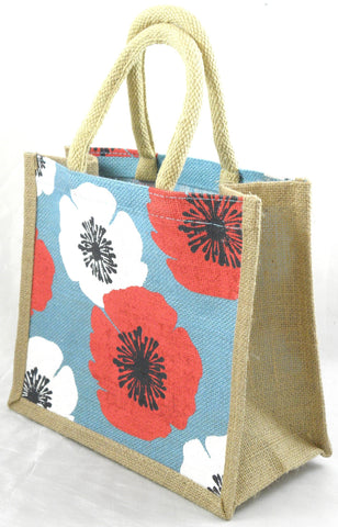 Jute Hessian Shopping Bag - Poppy design (Small)