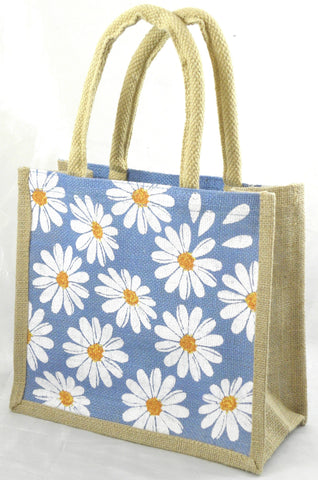 Jute Hessian Shopping Bag - Daisy design (Small)