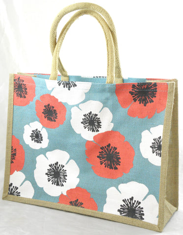 Jute Hessian Shopping Bag - Poppy design (Medium/Landscape)