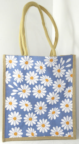 Jute Hessian Shopping Bag - Daisy design (Large/Tall/Portrait)