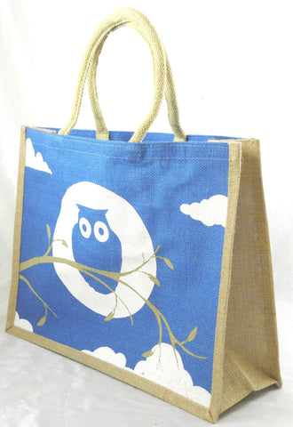 Jute Hessian Shopping Bag - Owl design (Medium/Light Blue)