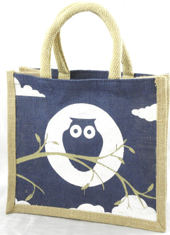 Jute Hessian Shopping Bag - Owl design (Small/Navy Blue)