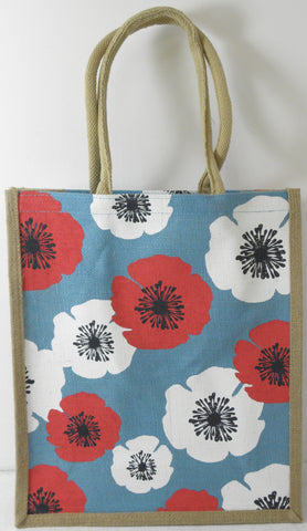 Jute Hessian Shopping Bag - Poppy design (Large/Tall/Portrait)