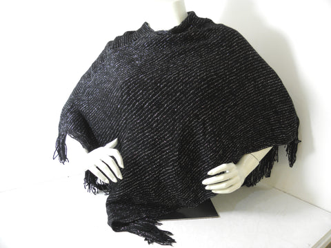 Black & Silver  Knitted Poncho / Cape / Shawl - Designed in Italy (one size)