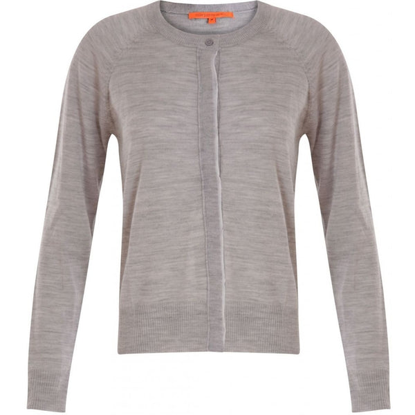 Coster Copenhagen Round neck knit cardigan merino (Basic) Knitwear Light grey melange - 129
