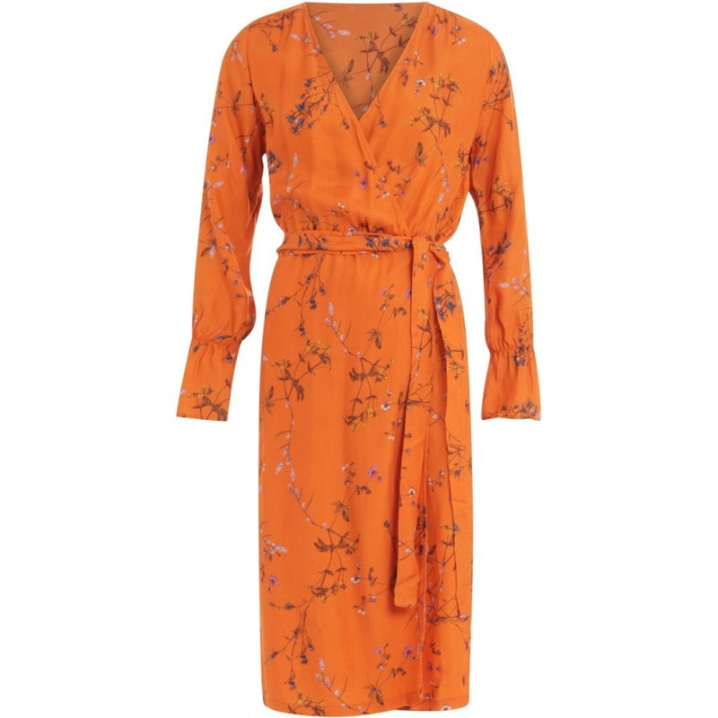 Coster Copenhagen Wrap dress in Frosted Blooms print Dress Frosted Blooms - Flame Orange - 662