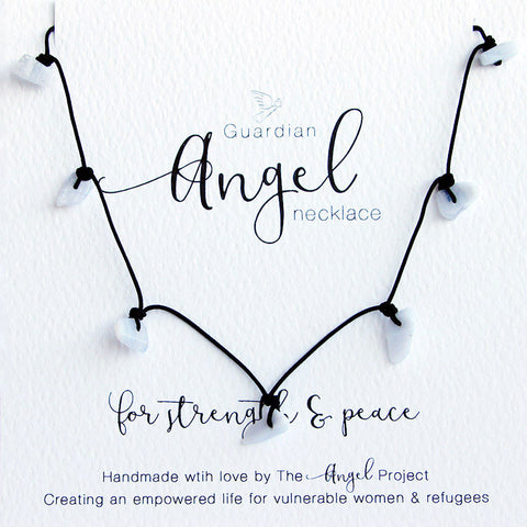 Guardian Angel Necklace - For Strength & Peace (Blue Lace Agate)
