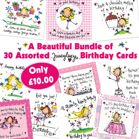 A beautiful bundle of 30 assorted Birthday Cards - Juicy Lucy Designs