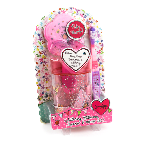 Glitter Bathroom Beaker and Mirror Set - Juicy Lucy Designs
