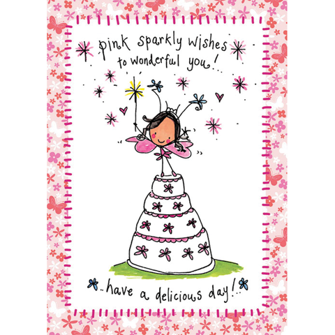 Pink sparkly wishes to wonderful you! - Juicy Lucy Designs